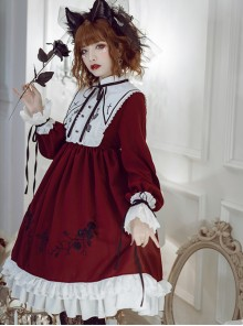Oath Roses Series OP Gothic Lolita Long Sleeve Dress