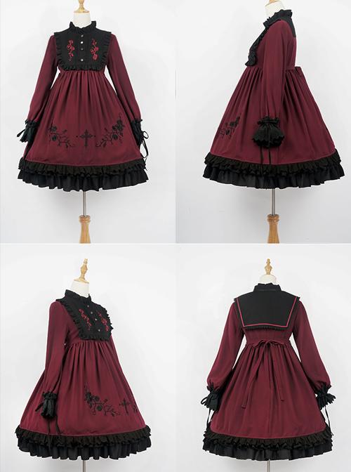 Oath Roses Series OP Gothic Lolita Long Sleeve Dress