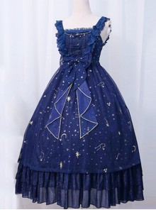 *The Night Of Stars And Moon* JSK High Waist Gradient Classic Lolita Sleeveless Starry Sky Dress