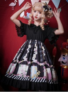 Springtime Hand Stick Series OP Printing Classic Lolita Short Sleeve Dress