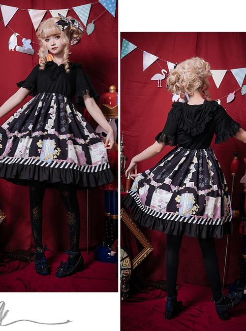 Springtime Hand Stick Series OP Printing Classic Lolita Short Sleeve Dress