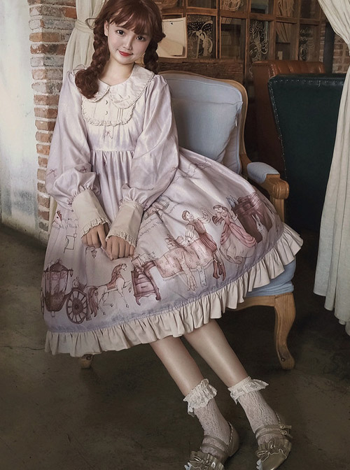 Fairy Tales Series OP Doll Collar Classic Lolita Long Sleeve Dress