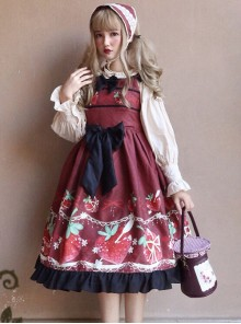 Strawberry Hug Series Bowknot Sweet Lolita Sling Dress