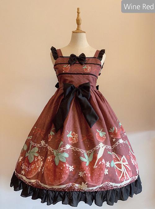 Strawberry Hug Series Bowknot Sweet Lolita Sling Dress