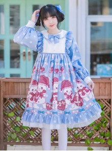 Love Heart Bear Series Sweet Lolita Blue Long Sleeve Dress
