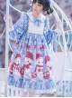 Love Heart Bear Series Sweet Lolita Blue Long Sleeve Dress