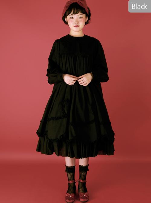 High Waist Doll Collar Pure Color Classic Lolita Long Sleeve Long Dress