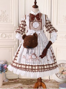 Fairy Tale Dessert Chefs Series Cute Bears Printing Sweet Lolita Off Shoulder Dress