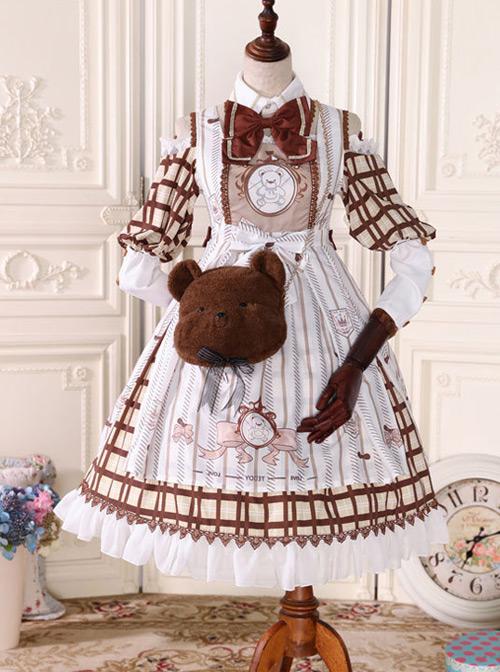 Fairy Tale Dessert Chefs Series Cute Bears Printing Sweet Lolita Off Shoulder Dress