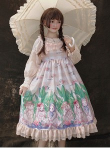 Little Rabbit Series JSK Rabbit Printing Ruffle Sweet Lolita Sling Dress