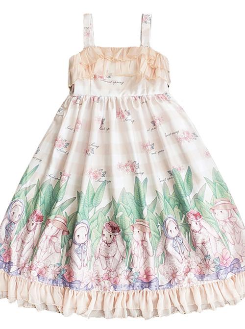 Little Rabbit Series JSK Rabbit Printing Ruffle Sweet Lolita Sling Dress