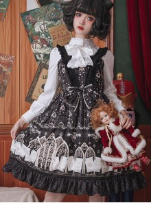 Louis Poker City Series JSK Lace Bowknot Classical Lolita Sling Dress