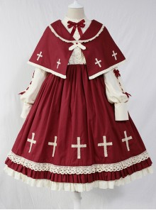 Crucifix Choir Series Sweet Lolita Long Sleeve Dress And Cloak Set