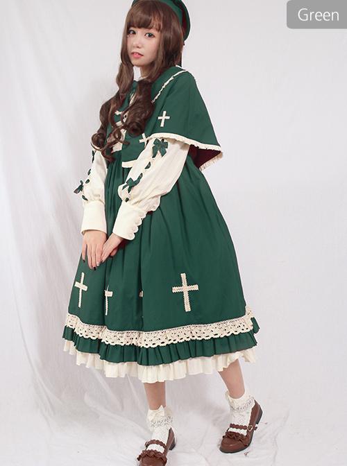 Crucifix Choir Series Sweet Lolita Long Sleeve Dress And Cloak Set