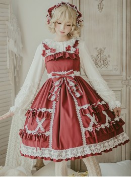 Crisp Crispy Cream Series JSK Pure Color Little High Waist Sweet Lolita Sling Dress