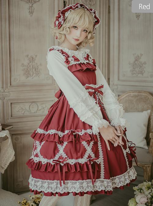 Crisp Crispy Cream Series JSK Pure Color Little High Waist Sweet Lolita Sling Dress