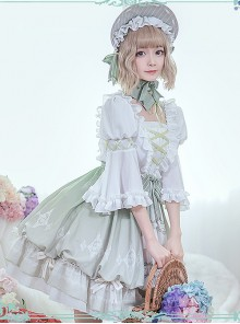 Green Light Forest Series OP Ruffle Classic Lolita Short Sleeve Dress