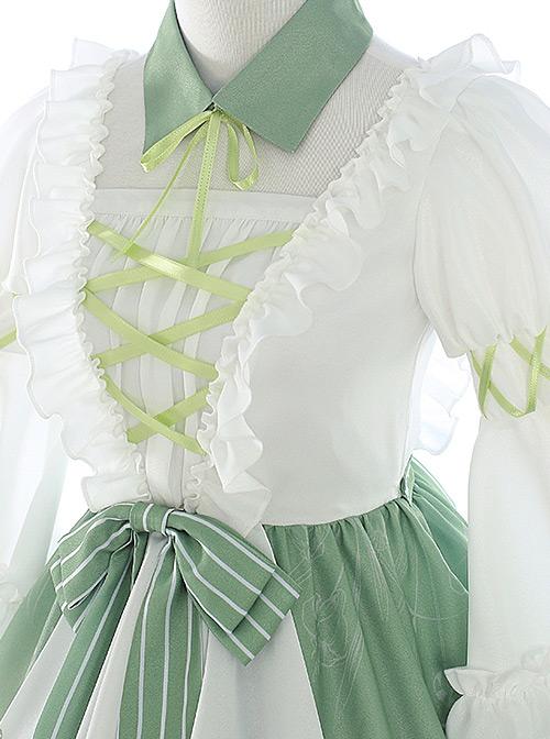 Green Light Forest Series OP Ruffle Classic Lolita Short Sleeve Dress