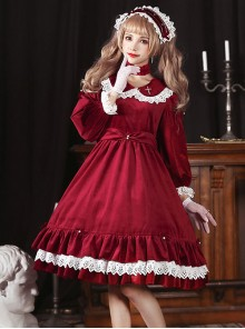 Vintage Velvet Pearl Jacquard Lace Gorgeous Back Slit Bowknot Gothic Lolita Long Sleeve Dress