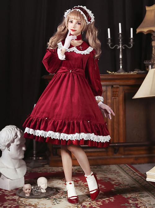 Vintage Velvet Pearl Jacquard Lace Gorgeous Back Slit Bowknot Gothic Lolita Long Sleeve Dress