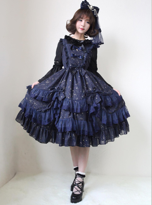 Bronzing Constellation Chiffon Bowknot Classic Lolita Sling Dress