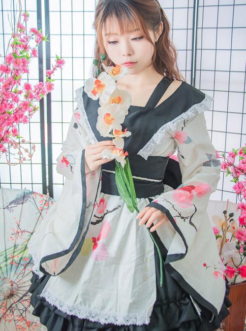 Lace Collar Bowknot Cherry Blossoms Sweet Lolita Kimono