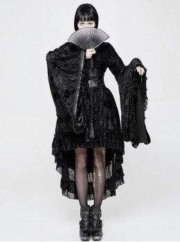 Black Flocking Printing Gothic Lolita Kimono Dress