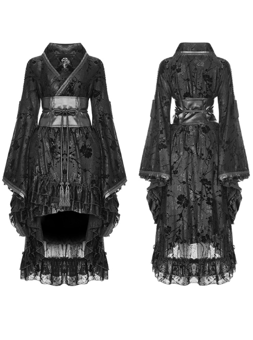 Black Flocking Printing Gothic Lolita Kimono Dress