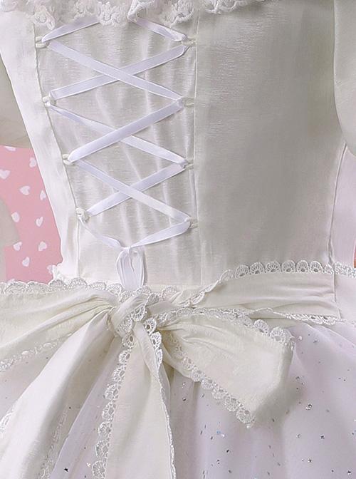 Elegant Pink Bowknot White Classic Lolita Wedding Dress
