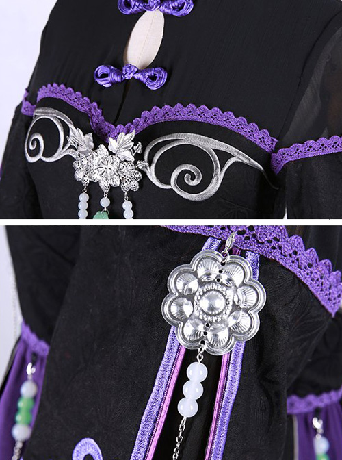 Orchid Grass Embroidery Chinese Style Classic Qi Lolita Purple Dress