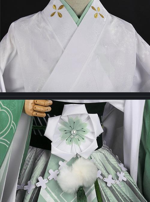 Japanese Style Cherry Blossom Jacquard Classic Lolita Flower Festival Green Kimono