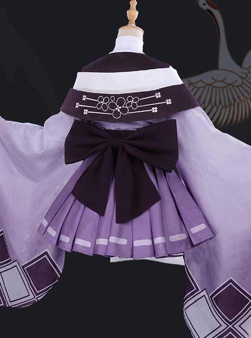 Butterfly Embroidery Cherry Blossoms Jacquard High Collar Classic Lolita Purple Kimono