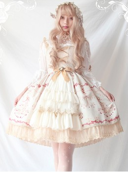 Alice Girl Lolita Chandelier Handle Lace Ruffled Open Jsk Sling Dress