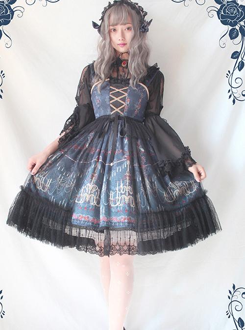 Alice Girl Lolita Chandelier Handle Lace Ruffled Open Jsk Sling Dress