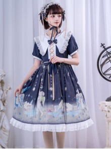 Little Prince Series Printing Bowknot High Waist Sweet Lolita Short Sleeve Dress