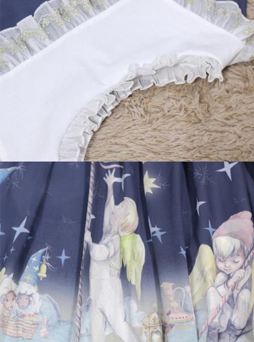Little Prince Series Printing Bowknot High Waist Sweet Lolita Short Sleeve Dress