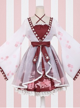 Goldfish Sakura Princess Embroidery Sweet Lolita Long Sleeve Dress