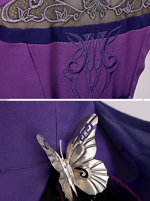 Phalaenopsis Embroidery Purple Chinese Style Classic Lolita Sleeveless Dress