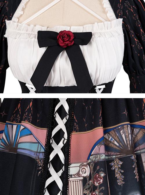 Narkissos Series Printing Retro Black Classic Lolita Short Sleeve Dress