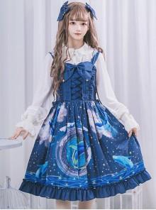 Nebula Whale Series JSK Classic Lolita Blue Sling Dress