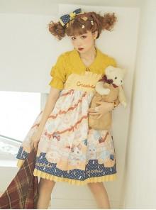 Cute Hamster Printing Yellow JSK Sweet Lolita Sling Dress