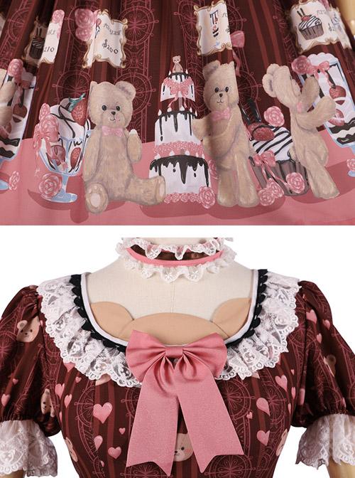 Little Bear Dessert Series OP Printing Pink Bowknot Sweet Lolita Short Sleeve Dress