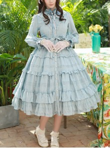 Elegant Little High Collar Jacquard Ruffle Long Sleeve Classic Lolita Long Style Dress
