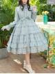 Elegant Little High Collar Jacquard Ruffle Long Sleeve Classic Lolita Long Style Dress