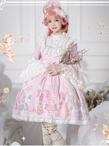 November's ode Series OP Cute Printing Sweet Lolita Trumpet Sleeve Dress