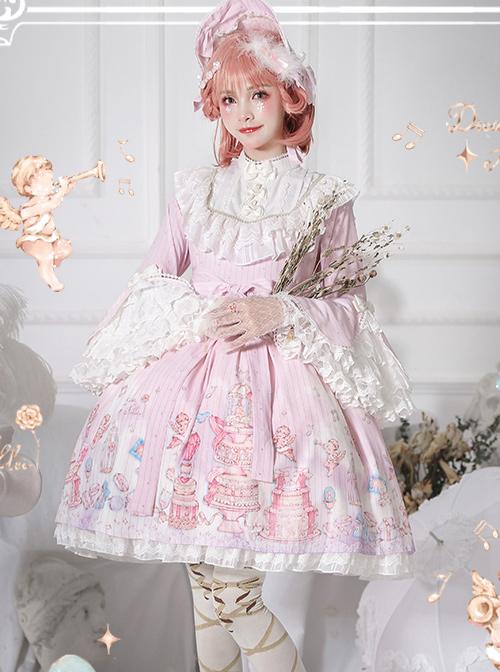 November's ode Series OP Cute Printing Sweet Lolita Trumpet Sleeve Dress