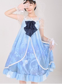 Ocean Series Whale And Jellyfish Printing Classic Lolita Blue Sling Dress