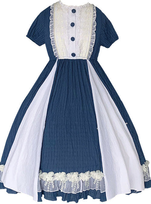 White Lace Ruffle Hem Blue Elegant OP Classic Lolita Short Sleeve Dress