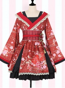 Cherry Blossoms Printing Japanese-style Sweet Lolita Improved Kimono
