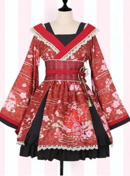 Cherry Blossoms Printing Japanese-style Sweet Lolita Improved Kimono